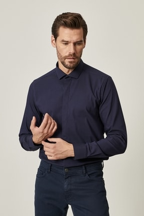 Altınyıldız Classics Erkek Lacivert Tailored Slim Fit Dar Kesim Küçük İtalyan Yaka Gömlek 0