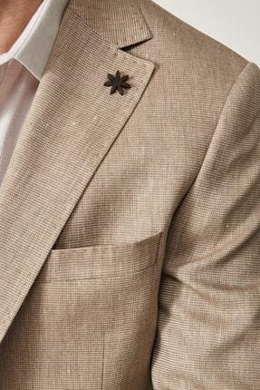 Altınyıldız Classics Erkek Vizon Slim Fit Desenli Ceket 4