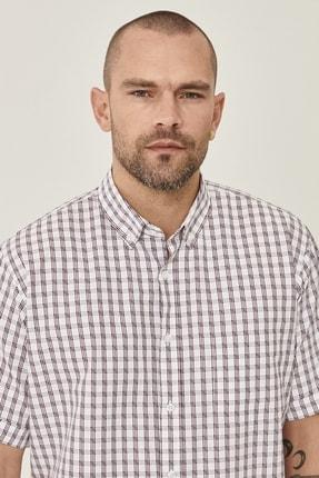 Altınyıldız Classics Erkek Beyaz-Bordo Regular Fit Kısa Kollu Gömlek 2