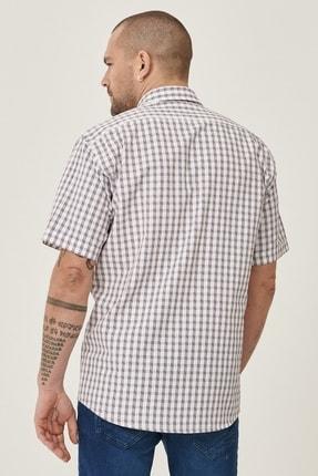 Altınyıldız Classics Erkek Beyaz-Bordo Regular Fit Kısa Kollu Gömlek 3