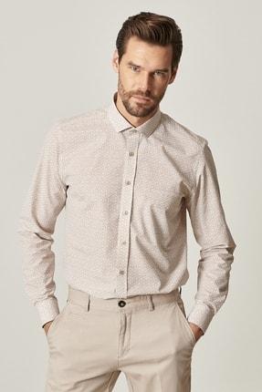 Altınyıldız Classics Erkek Bej Tailored Slim Fit Dar Kesim Küçük İtalyan Yaka Baskılı Gömlek 1