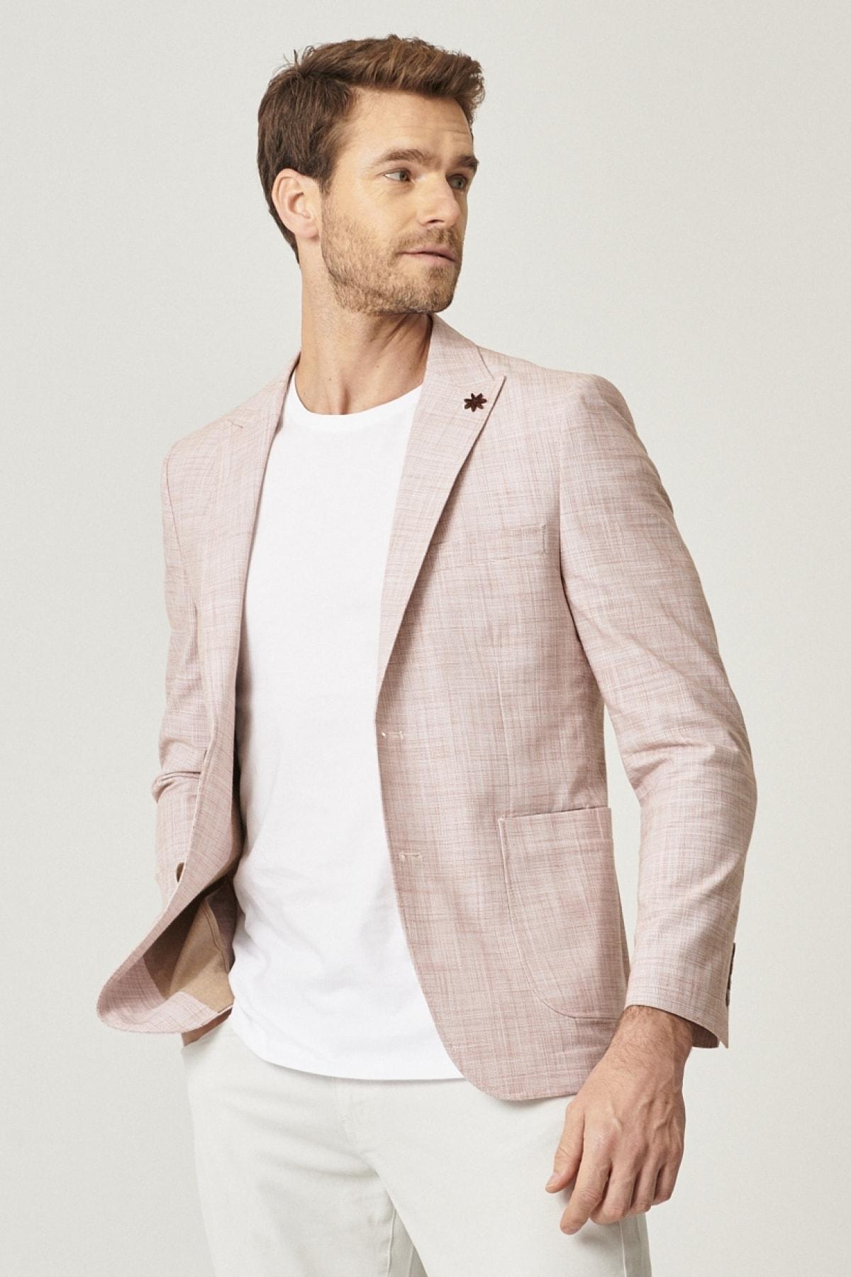 Erkek Kiremit Slim Fit Desenli Ceket