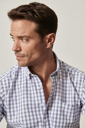 Altınyıldız Classics Erkek Beyaz-Mavi Regular Fit Kısa Kollu Gömlek 3