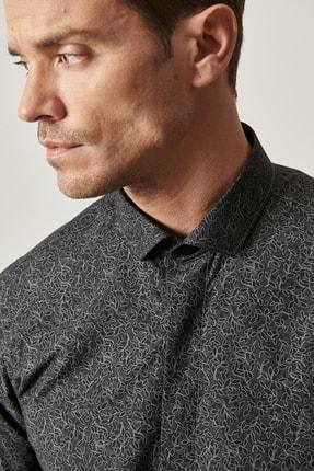 Altınyıldız Classics Erkek Siyah Tailored Slim Fit Dar Kesim Küçük İtalyan Yaka Baskılı Gömlek 4