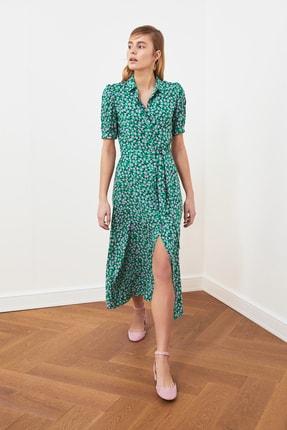 TRENDYOLMİLLA Yeşil Kuşaklı Gömlek Elbise TWOSS20EL1559 0