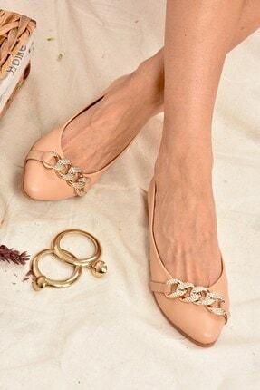 Fox Shoes Kadın Ten Rengi Taş Detaylı Zincirli Babet K726095509 2