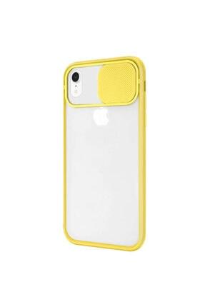 Zengin Çarşım Iphone Xr Uyumlu Kamera Lens Korumalı Sürgülü Lüx Kılıf Sarı 1