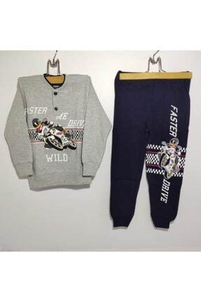 %100 Pamuk Motor Baskılı Erkek Çocuk Pijama Takımı 3'lü Çorap Hediyeli resmi