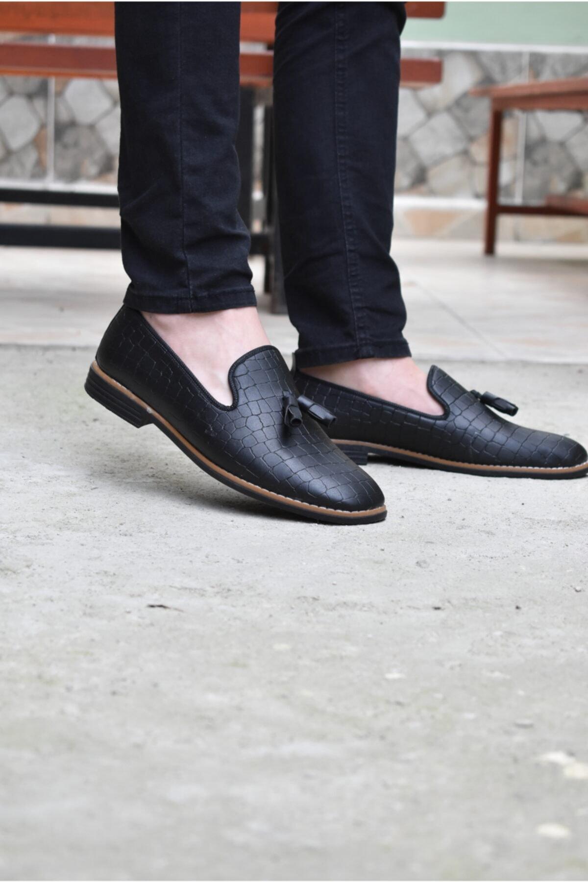 ALBİDÜNYA Erkek Günlük Ayakkabı Baskı Model Siyah