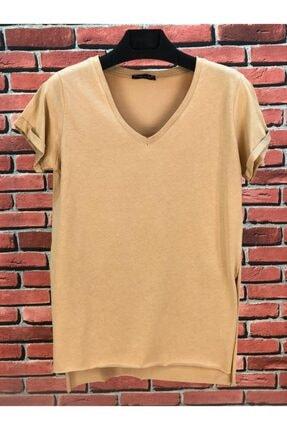 madammodabir Kadın Camel V Yaka Asimetrik Örme T-shirt 0