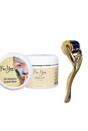 For You Gold Seramik Maske (Akne Karşıtı - Gözenek Sıkılaştırıcı Maske) & Dermaroller 1