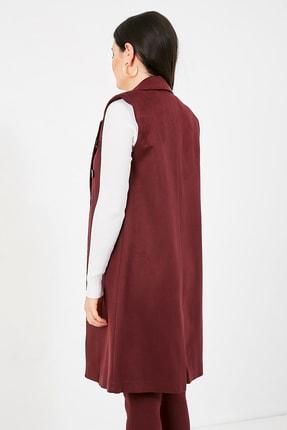 Sateen Kadın Mürdüm Ceket Yaka Süs Düğmeli Süet Yelek  STN139KYE388 3