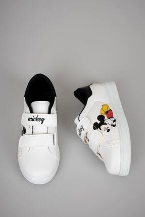 YSRSPOR Unisex Çocuk Beyaz Cırtlı Günlük Spor Ayakkabı 2