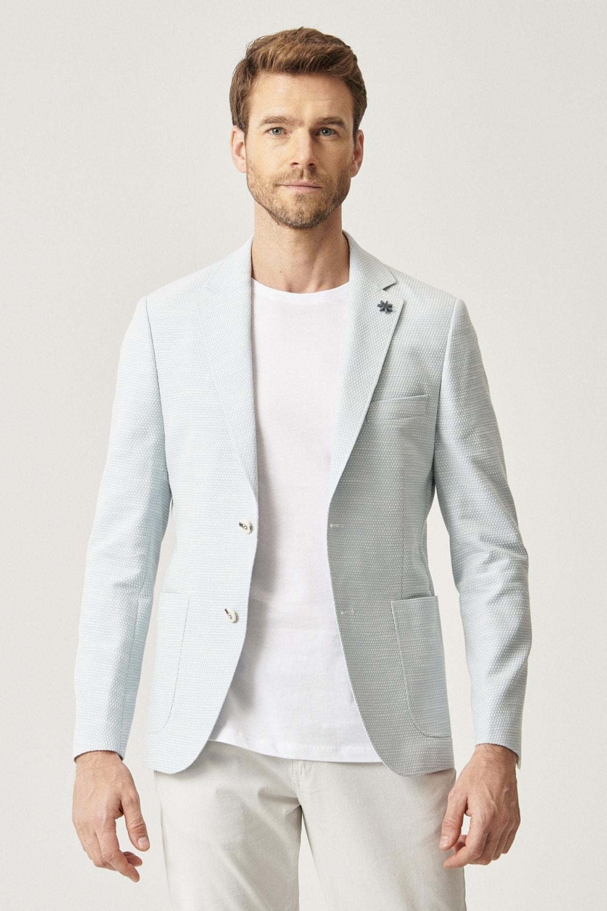 Erkek Açık Mavi Ekstra Slim Fit Desenli Ceket