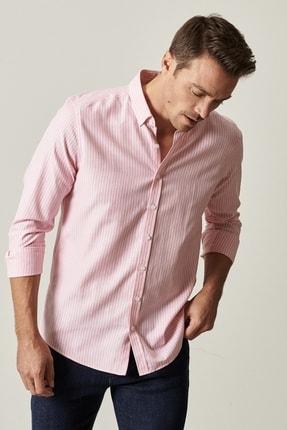Altınyıldız Classics Erkek Pembe-Beyaz Tailored Slim Fit Dar Kesim Düğmeli Yaka Çizgili Gömlek 0