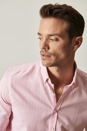Altınyıldız Classics Erkek Pembe-Beyaz Tailored Slim Fit Dar Kesim Düğmeli Yaka Çizgili Gömlek 3