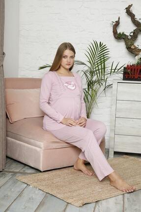 BOYRAZ Kadın Pembe Hamile Emzirmeli Uzun Kol Pijama Takımı 7102 2