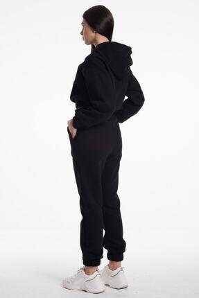 CAYA Kapüşonlu, Oversize, Yüksek Bel, Içi Polarlı Kumaş Kadın Eşofman Takımı 4