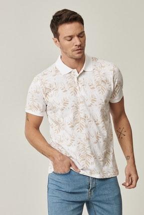 Altınyıldız Classics Erkek Beyaz-Bej Polo Yaka Cepsiz Slim Fit Dar Kesim %100 Koton Desenli Tişört 0