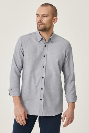 Altınyıldız Classics Erkek Gri Tailored Slim Fit Dar Kesim Düğmeli Yaka Oxford Gömlek 1