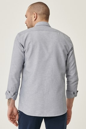 Altınyıldız Classics Erkek Gri Tailored Slim Fit Dar Kesim Düğmeli Yaka Oxford Gömlek 4