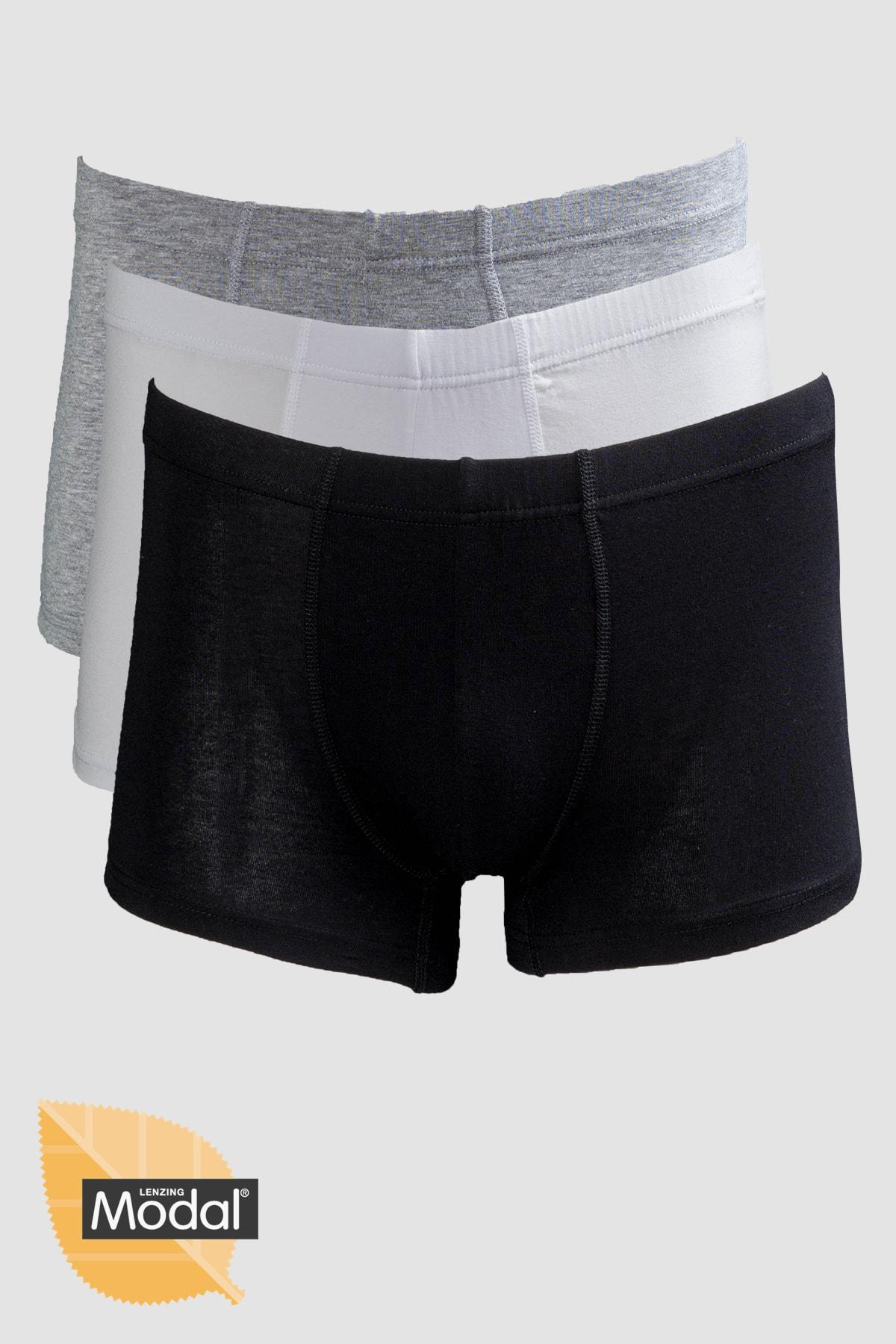 Erkek 3'lü Modal Pamuk Siyah Beyaz Gri Kısa Boxer