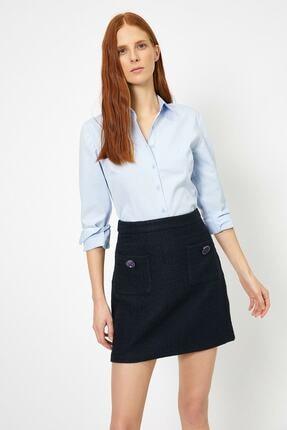 Koton Kadın Mavi Klasik Yaka Gömlek 1