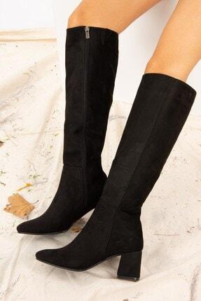 Fox Shoes Siyah Süet Kadın Çizme J518023002 3
