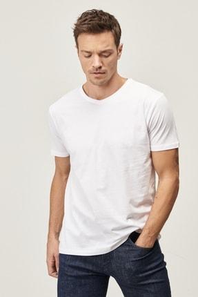 Altınyıldız Classics Erkek Beyaz Slim Fit Dar Kesim V Yaka 2'li Tişört Paketi 2