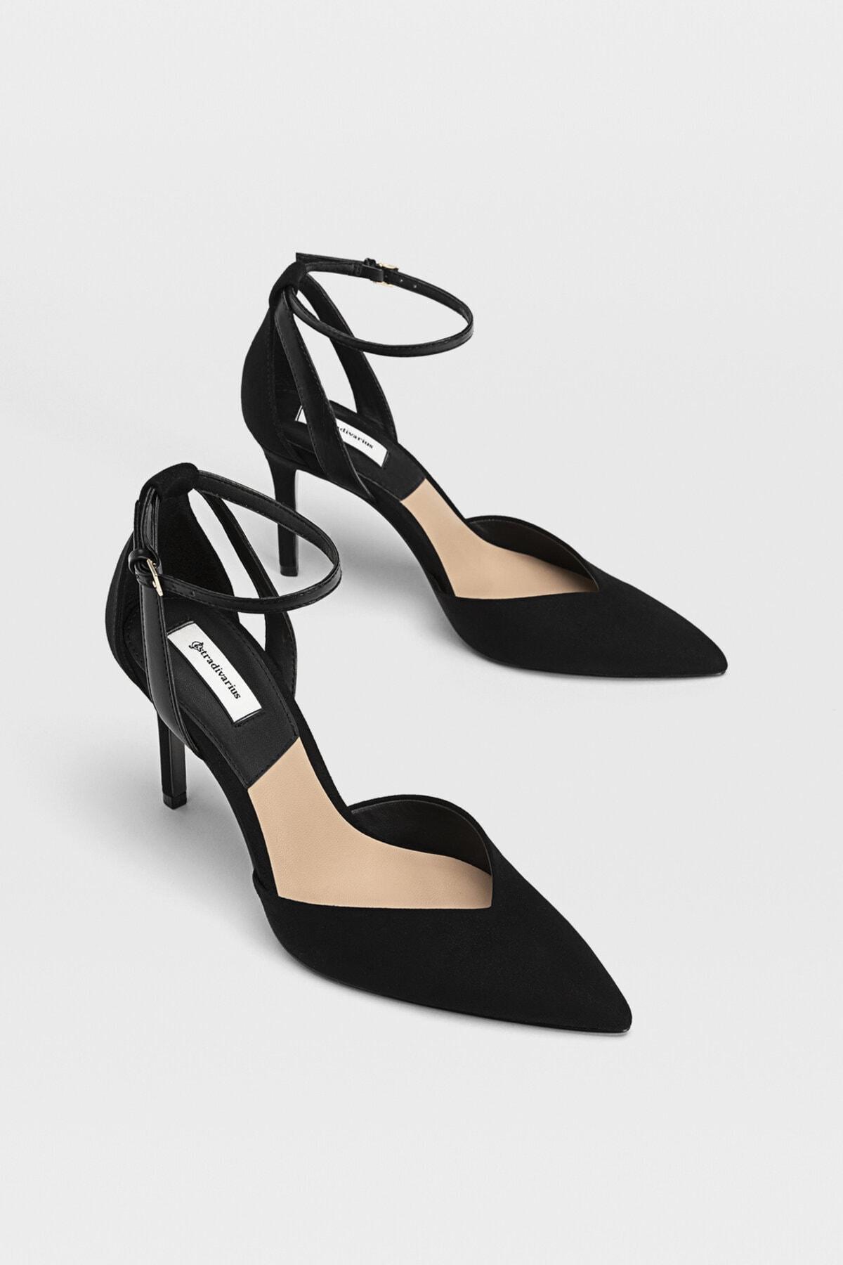 Stradivarius Kadın Siyah Bilekten Bantlı Yüksek Topuklu Ayakkabı 19153770 1