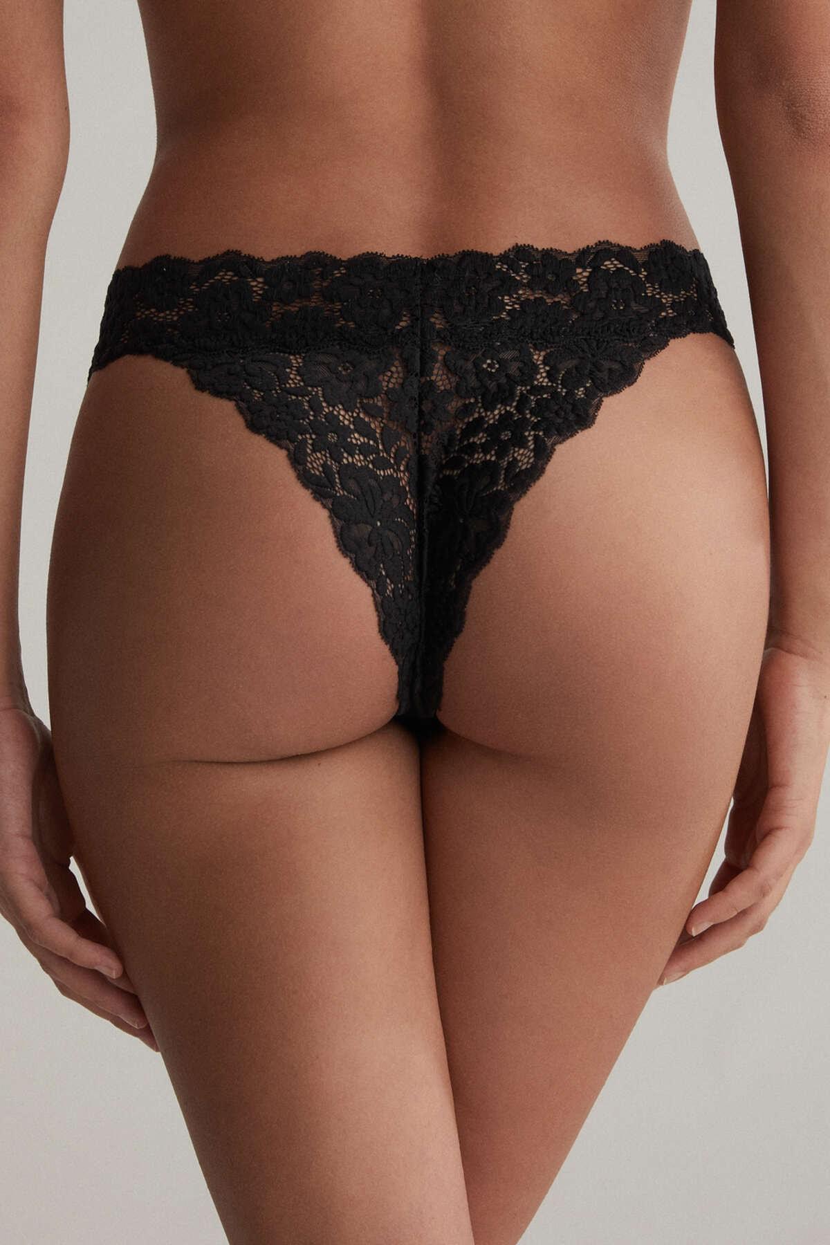 Oysho Kadın 3 Adet Dantelli Brezilya Modeli Külot Siyah 31504561 4