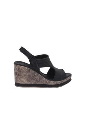 Siyah Dolgu Topuk Kadın Sandalet 2015701 VNS2015701S
