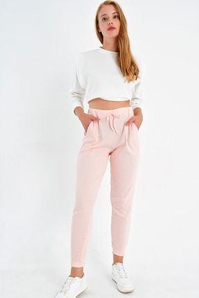 Trend Alaçatı Stili Kadın Açık Pembe Paçası Lastikli İki İplik Eşofman Altı ALC-Y2933 0