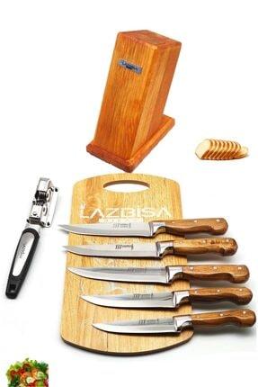 LAZBİSA Lazoğlu Sürmene 8'li Mutfak Bıçak Seti Bileyici Kesme tahtası Kütük Et Ekmek Sebze Meyve Bıçağı 2