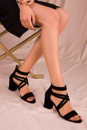 Soho Exclusive Siyah Süet Kadın Klasik Topuklu Ayakkabı 14670 0