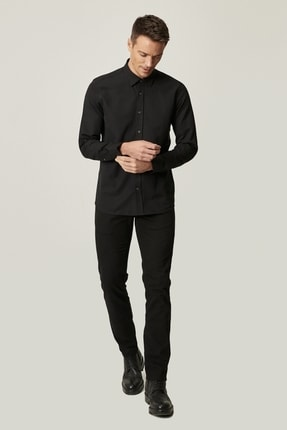 Altınyıldız Classics Erkek Siyah Kanvas Slim Fit Dar Kesim %100 Koton 5 Cep Pantolon 0