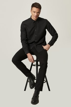 Altınyıldız Classics Erkek Siyah Kanvas Slim Fit Dar Kesim %100 Koton 5 Cep Pantolon 3