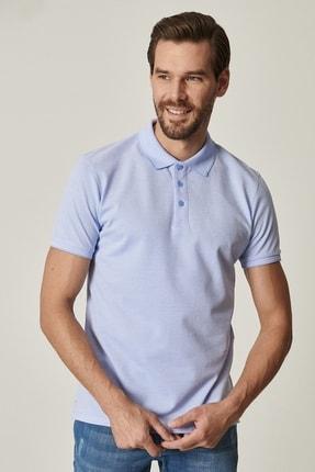 Picture of Erkek Açık Mavi Polo Yaka Cepsiz Slim Fit Dar Kesim %100 Koton Düz Tişört