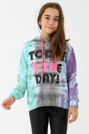 Enisena Kız Çocuk Mint Batik Yıkamalı Kapüşonlu Sweatshirt 9-14 Yaş 0