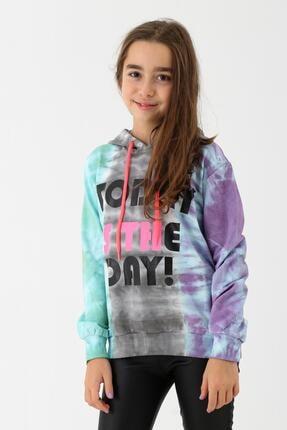 Enisena Kız Çocuk Mint Batik Yıkamalı Kapüşonlu Sweatshirt 9-14 Yaş 3