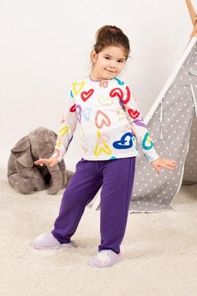 armonika Kadın Mor Anne Kız Model Kalp Desenli Pijama Takımı ARM-21K001114 2