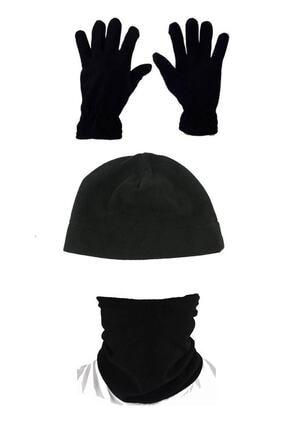 Unisex Siyah 3'lü Set: Polar Bere Boyunluk Eldiven resmi