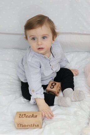 MSticker Ahşap Anı Küpleri - 4'lü Anne Bebek Hatıra Fotoğraf Çekim Ve Oyuncak Dekor Anı Küpü 4