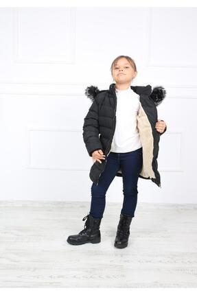 B&T Kız Çocuk Siyah Peluşlu  Kaban Mont 3