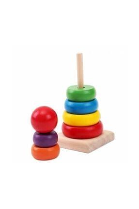 Wooden Toys Ahşap Renkli Kule Eğitici Oyuncak 0