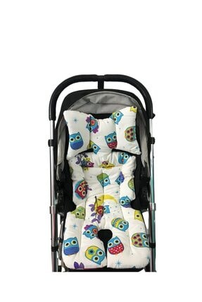 Pamuk Atölyesi Filli Ve Baykuşlu Bebek Arabası Minderi - Çift Taraflı 1