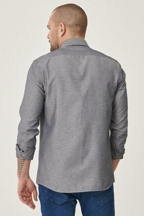 Altınyıldız Classics Erkek Koyu Lacivert Tailored Slim Fit Dar Kesim Düğmeli Yaka Gabardin Gömlek 4