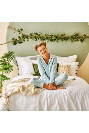 Bella Maison %100 Pamuk Olive Açık Yeşil Pijama Üstü 4