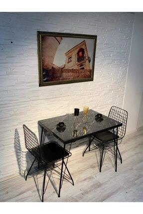 Avvio Ezgi 2 Kişilik Yemek Masası Takımı-mutfak Masası Takımı-siyah Mermer Desenli 1