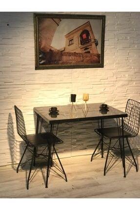 Avvio Ezgi 2 Kişilik Yemek Masası Takımı-mutfak Masası Takımı-siyah Mermer Desenli 2
